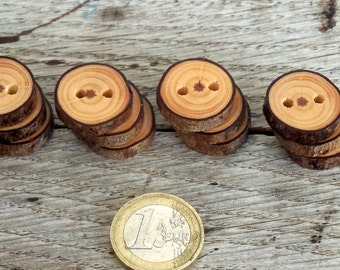 Wood Buttons-12 handmade red Pine tree branch buttons-4/5inches diameter.For hats,purses,legwarmers
