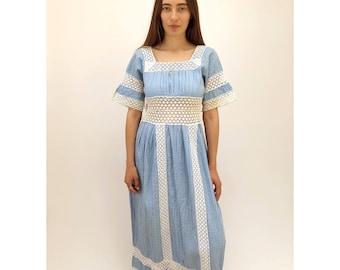 Sky Dress // vintage 70s Mexican crochet maxi midi white 1970s boho ethnic hippie cotton hippy blue festival high waist // S Small