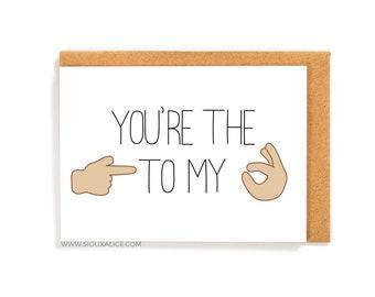 Funny Valentines day card - Anniversary card - Birthday card - card emoji boyfriend card for him love card  I love you emoji sex love card