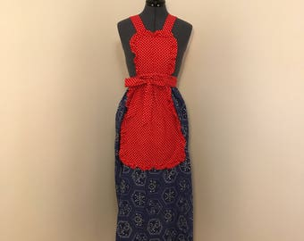 Red, white & blue vintage apron wrap dress