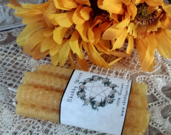 6 Gold Beeswax candles,  Mini Beeswax Candles, Mini Candles, Chime candles, Spell Candle