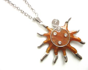Extra Long Sunray Pendant Necklace Tan Orange Enamel & Silver Plate with Rhinestones 26 - 29 Inches
