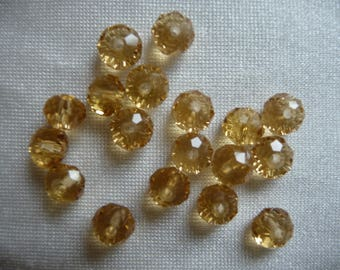 Glass Beads, Shades of Gold, 6x4mm, Rondelle.  Sold per pack of 20 beads.