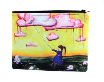 Selfish - Zipper Pouch - Little Girl Stealing Clouds for Herself - Art by Marcia Furman