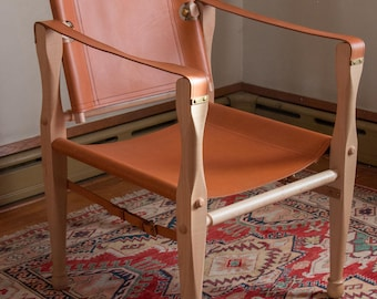 Leather Safari Chair, British Campaign, Roorkhee, Wood, Brass