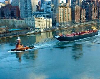 New York City Print, Fine Art Photography, Tugboat, NYC Wall Art,  Giclee Art Print, Street Photography, Deborah Julian