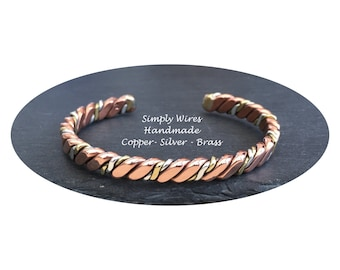 Copper Bracelet With a Twist of Silver and Brass