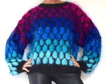 Vintage 80s 90s Mermaid Scales Fuzzy Mohair Hand Knit Oversized Pullover Sweater