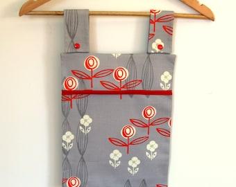Clothespin Bag, Laundry Bag, Peg Bag, Peg Storage, Fabric Peg Bag, Orange White Flowers on Grey