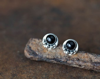 Small Black Earrings, Round Black Onyx Stud Earrings, Sterling silver bezel set stone cabochon, unique handmade silversmith jewelry