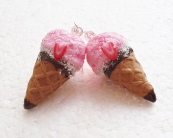 Strawberry Ice Cream Earrings.