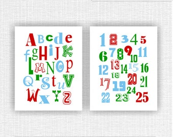 INSTANT DOWNLOAD Alphabet and Numbers Nursery Wall Art Decor room Prints Set of 2, 8x10