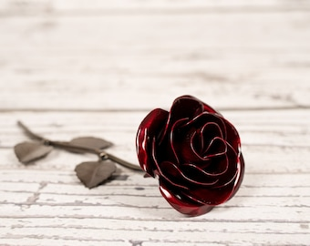Metal Rose • Red • Personalized Gift • Iron Anniversary • Hand Forged • Wrought Iron • Blacksmith • Bridesmaid Gift • Bridal Shower Gift