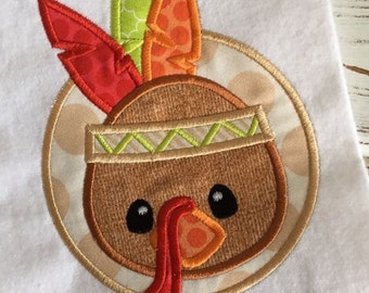 Turkey Indian Thanksgiving Applique Embroidery Design 5x7 6x10 8x12