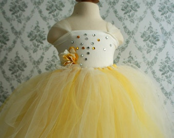Flower Girl Dress,  Tutu Dress, Tutu in Ivory  and Yellow