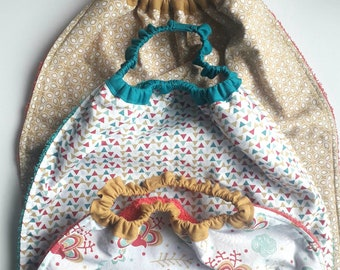 Serviette de table élastiquée enfant pour la cantine, serviette élastiquée, bavoir élastiqué, bavoir cadeau de naissance, bavoir maternelle