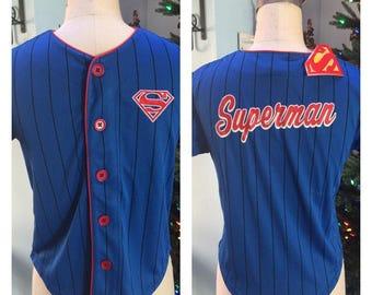 SUPERMAN Boy's Baseball Jersey Shirt Top - Personalized