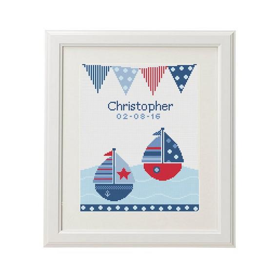 nautical cross stitch pattern birth announcement ship cross stitch baby pattern record chevron new baby boy diy art crossstitch pdf from animalscrossstitch