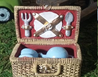 Fairy Garden Miniature Picnic Basket for your Fairy Garden, Miniature Resin Picnic Basket Accessories, Fairy Accessory, Wicker Look