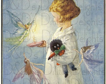 Fairies, Surround Little Girl and Her Doll. VINTAGE  Illustration. Digital Download.
