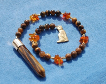 Fire of Cat Gemstone Pendulum - cat's eye and baltic amber