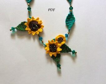 Crocheted Sunflower Necklace Pattern PDF
