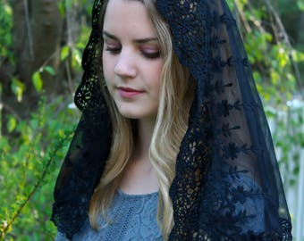 Evintage Veils~Black Lace French Chapel Veil Mantilla Head Covering Latin Mass D or Infinity Style