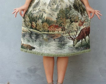 Deer and Elks Skirt Mori Girl Fairy tale Vintage Clothing Woodland Bambi Gobelin Tapestry Fabric Clothing US size 8 / 10 EU size 38 / 40