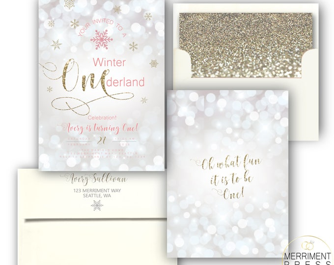 Winter Onederland Invitations Girl First Birthday Pink and Gold Glitter Sparkle Bokeh Invite Silver White Snowflakes - SEATTLE COLLECTION