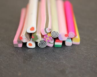 Assortment of 15 various treats theme polymer clay canes