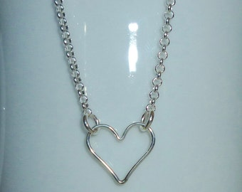 Sterling Silver Floating Heart Necklace, Heart Layering Necklace, Heart Necklace, Heart Jewelry