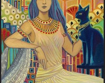 Bast Egyptian Cat Goddess Art ACEO Mini Print Altar Art Pagan Mythology Psychedelic Gypsy Goddess Art