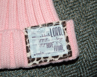 Faux Fur PomPom Beanie with Scripture Patch