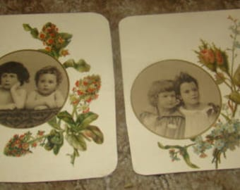 2 pieces of Victorian Scrap (Children and Flowers)