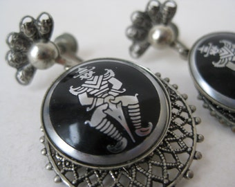Siam Earrings Screw Silver Black Dangle Filigree Vintage