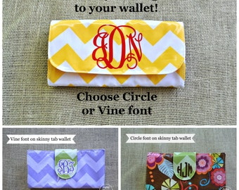 Circle or Vine Vinyl Monogram Decal -ADD to your wallet purchase!