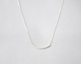 Handmade Sterling Silver Curve Pipe Charm Necklace, Custom letter initials on silver
