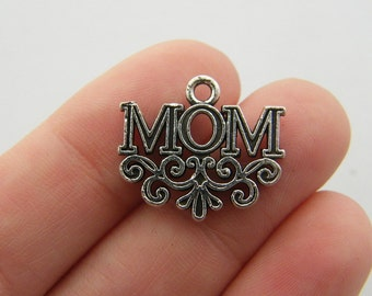 BULK 20 Mom charms antique silver tone M554