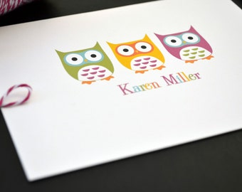 Owls Personalized Stationery / Personalized Stationary / Personalized Note Cards / Stationery Set - Colorful Owls Design