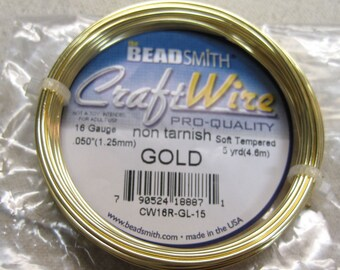 16 gauge Non Tarnish Gold Beadsmith Copper Craft Wire 5 yards