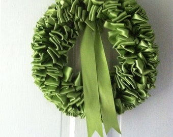 Wreath Peridot Green Ribbon Wreath 12 inch Nest Eggs Lime