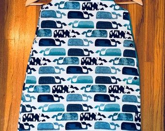 Infant Sleep Sack + Bib in Blue Whales, Nursing Cover Option, Great Baby Shower Gift! 50% of Purchase Donated to Charity