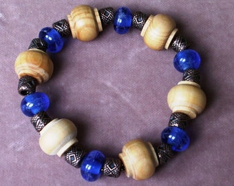 Cobalt Lampwork Glass Stretch Bracelet with Wood and  Antique Copper Pewter Beads