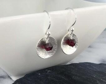 Hammered Disc Earrings with Garnet Gemstones, Sterling Silver - January Birthstone