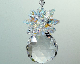 30mm Crystal Ball Pineapple AB Leaves SunCatcher Ornament Rainbow Maker m/w Swarovski Octagons & Bicones, Pearl Place N More