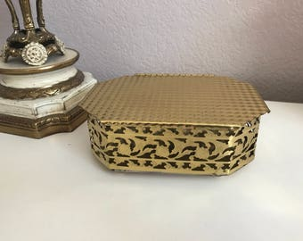 Antique solid brass octagonal jewelry trinket box, hinged brass box, ornate brass, vintage