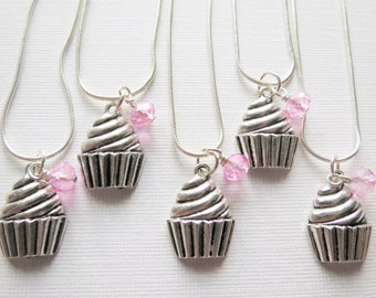 Cupcake Necklace, Cupcake Party Favors, Cupcake Charm Necklace, Birthday Jewelry, Party Favors, Silver Cupcake Charm, Birthday Party