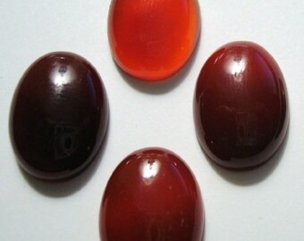 Natural Carnelian cabochons 4 pcs high dome flat backed 13x18x7mm oval high polish cp018