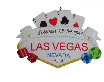 Personalized Ornament Celebrating 21st Birthday in Las Vegas - Las Vegas Vacation Ornament - Las Vegas Trip Ornament