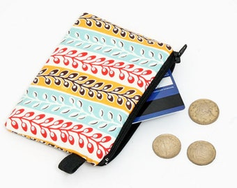 Coin purse, zipper change bag, small padded zippered phone pouch, floral womens zip wallet- aqua, coral, mustard stripes